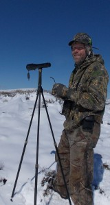 Here's John using the sticks and spotting scope.