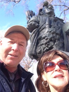 Snapped this shot of Linda and I at the Tecumsuh statue at USNA