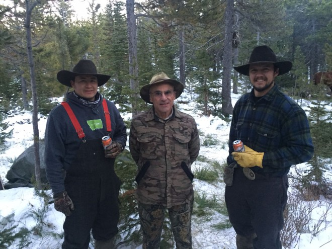 Left to right, Shance Hall, Dr. Alden Glidden and Colter Heckman pausing at the trail head on the way home.