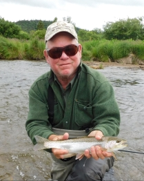 Rob caught this nice rainbow which was one of the larger trout we caught. It was too early in the run for the big flesh-eating trout.