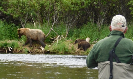 This sow and cubs passed by close on our last day of fishing.