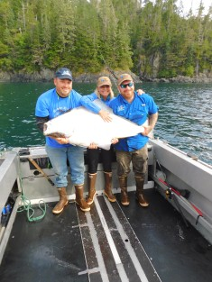 Robin's halibut was about 56 inches long. The weight estimate was over 100 pounds.